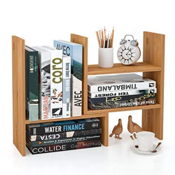 Bamboo Desk Storage Organizer Adjustable Desktop Display Shelf Rack Multipurpose Bookshelf for Office Kitchen